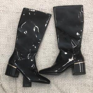 Zara Patent shiny black boots